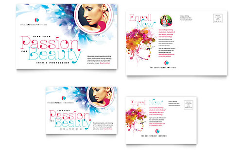 Cosmetology Postcard Template Design