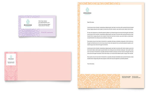 Massage Business Card & Letterhead Template Design