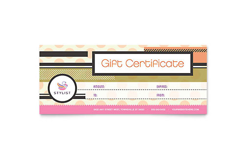 Hairstylist Gift Certificate Template Design