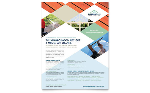 Window Cleaning & Pressure Washing Flyer Template Design