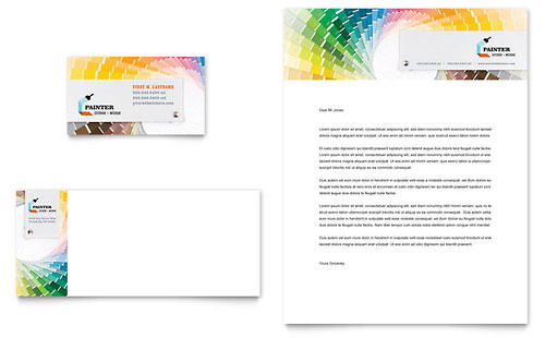 House Painting Contractor Business Card & Letterhead Template Design