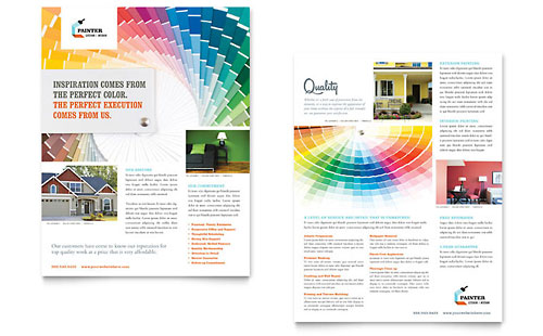 House Painting Contractor Datasheet Template Design