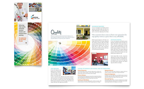 House Painting Contractor Tri Fold Brochure Template Design