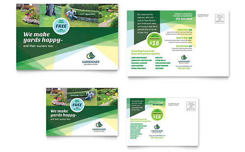 Landscaper Postcard Template Design