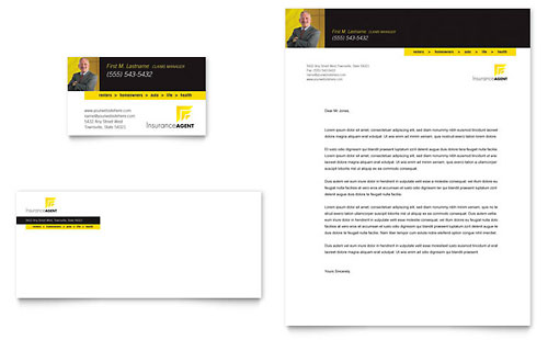 Insurance Agent Business Card & Letterhead Template Design