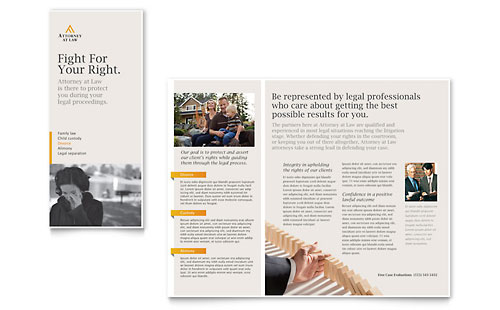 Legal Advocacy Tri Fold Brochure Template Design