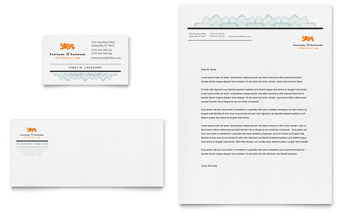 Attorney Business Card & Letterhead Template Design