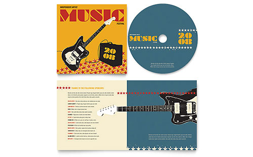 Live Music Festival Event - CD Booklet Template Design