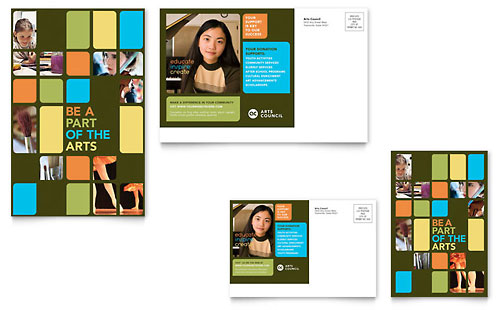 Arts Council & Education Postcard Template Design