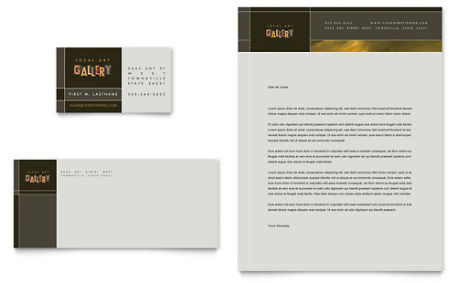 Art Gallery & Artist Business Card & Letterhead Template Design
