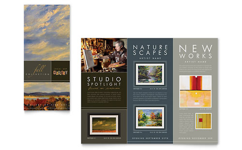 Art Gallery & Artist - Tri Fold Brochure Template Design