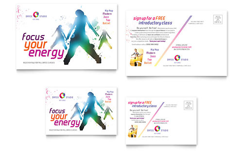 Dance Studio Postcard Template Design