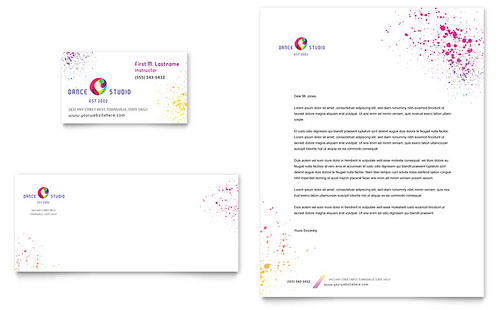 Dance Studio Business Card & Letterhead Template Design