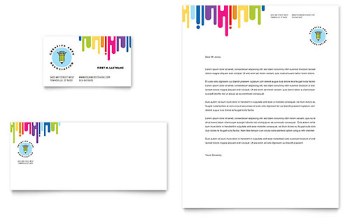 Kids Art Camp Business Card & Letterhead Template Design
