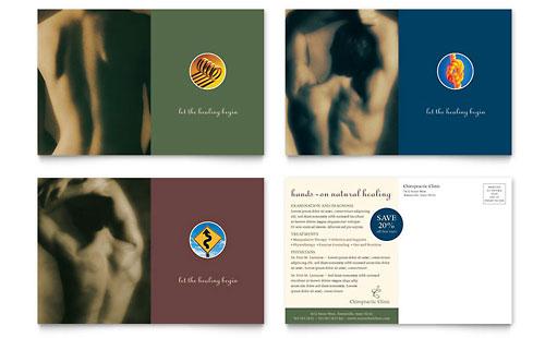 Chiropractor postcard template design for Chiropractic brochures template
