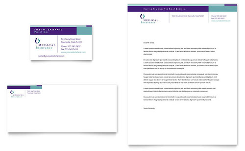 Medical Insurance Company - Business Card & Letterhead Design Template
