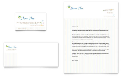 Elder Care & Nursing Home Business Card & Letterhead Template Design