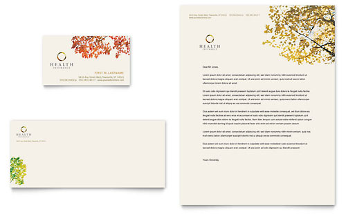 Health Insurance Company Business Card & Letterhead Template Design