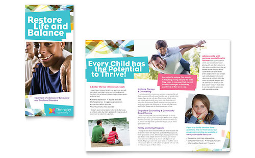 Adolescent Counseling Tri Fold Brochure Design Template
