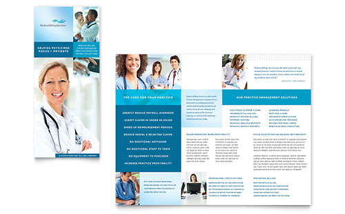 Medical Billing Coding Tri Fold Brochure Template Design – Medical Brochure Template