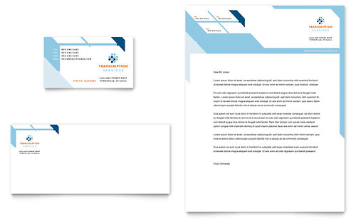 Medical Transcription Business Card & Letterhead Template Design