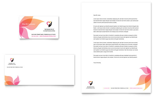 Marriage Counseling Business Card Letterhead Template Design