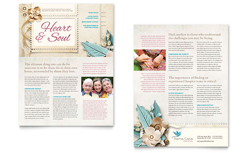 hospice  u0026 home care brochure template design