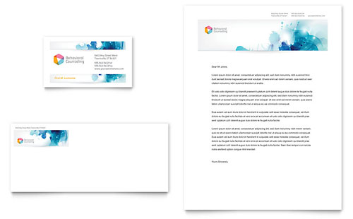 Behavioral Counseling Business Card & Letterhead Template Design
