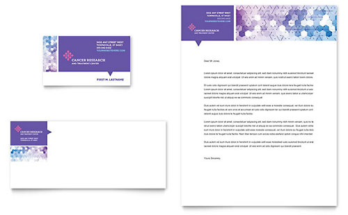Cancer Treatment Business Card & Letterhead Template Design