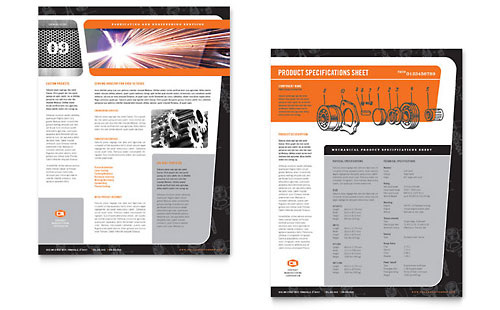 Manufacturing Engineering Datasheet Template Design