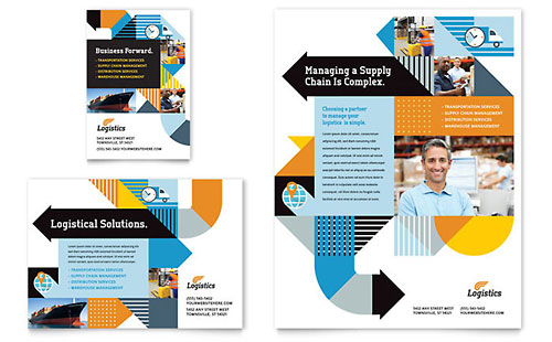 Logistics & Warehousing Flyer & Ad Template Design