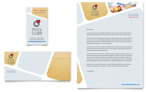 Food Bank Volunteer Business Card & Letterhead Template Design