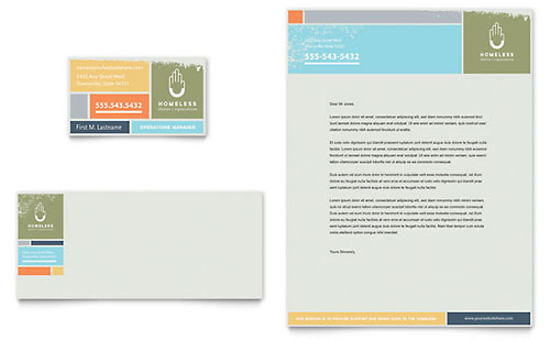 Homeless Shelter Business Card & Letterhead Template Design