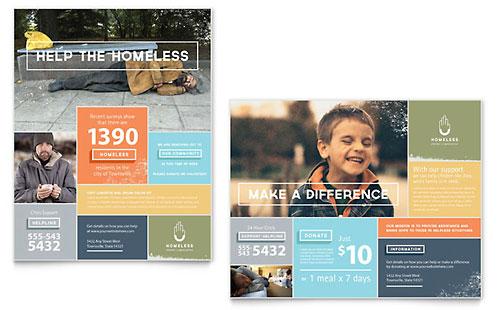 ngo brochure templates - homeless shelter flyer ad template design