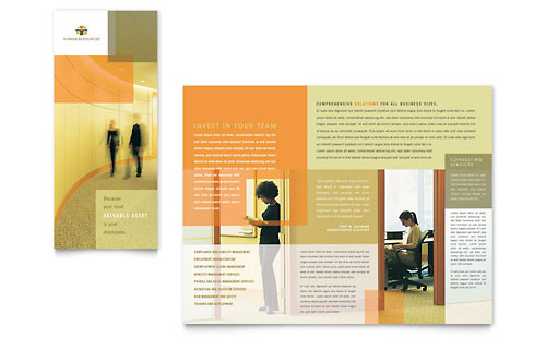 HR Consulting Tri Fold Brochure Template Design