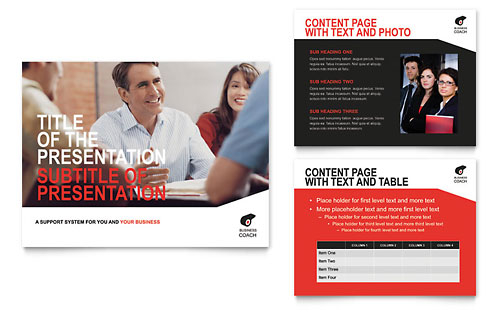 Business Executive Coach - PowerPoint Presentation Template Design