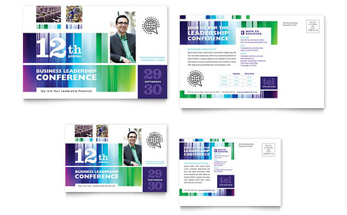 Business Leadership Conference Postcard Design Template