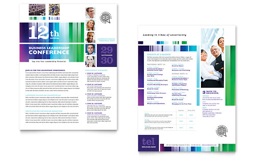Business Leadership Conference Datasheet Template Design