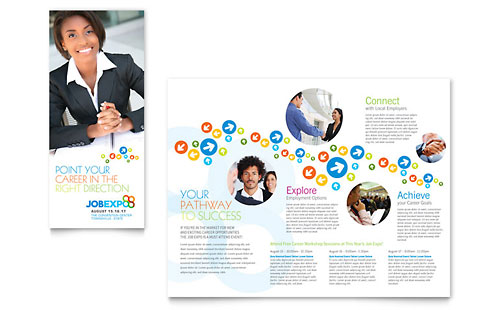 Job Expo & Career Fair Tri Fold Brochure Template Design