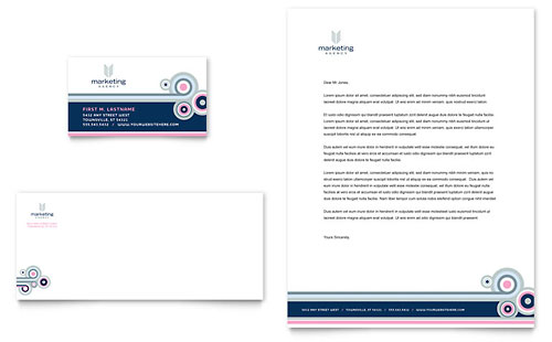 Marketing Agency Business Card & Letterhead Template Design
