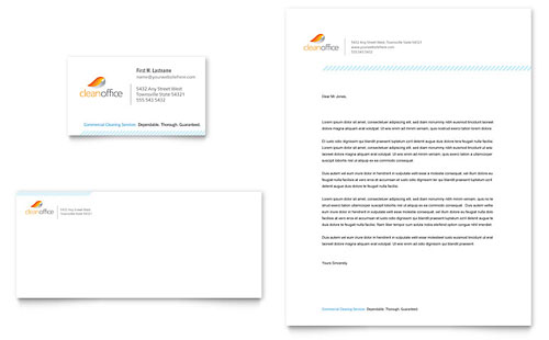 Janitorial & Office Cleaning - Business Card & Letterhead Template Design
