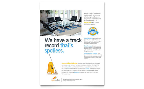 janitorial  u0026 office cleaning tri fold brochure template design