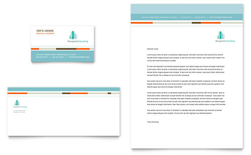 Management Consulting Business Card & Letterhead Template Design
