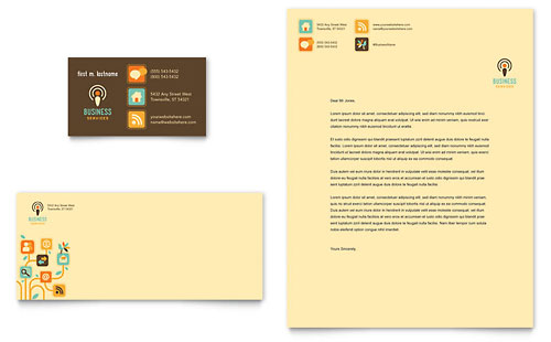 Business Services Business Card & Letterhead Template Design
