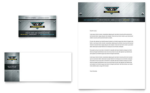 Locksmith Business Card & Letterhead Template Design