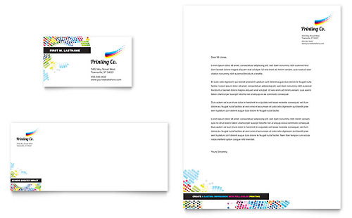 Printing Company Business Card & Letterhead Template Design