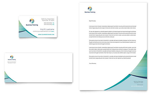 Business Training Business Card & Letterhead Template Design