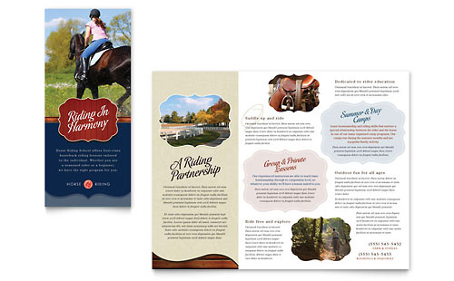 Horse Riding Stables & Camp - Tri Fold Brochure Template Design