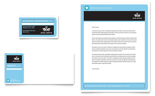 Animal Hospital Business Card & Letterhead Template Design