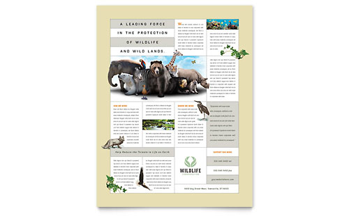 Nature & Wildlife Conservation Flyer Template Design